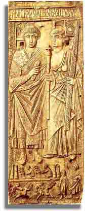 Consul Basilius (541 AD) celebrating his new office, accompanied by Roma as an allegorical figure - Ivory memorial plaque