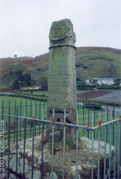Eliseg's Pillar - The Latin inscription recording the re-erection of the lower part of the shaft in 1779 can be seen in this side-view of the monument. Keith Nurse, May 2003.