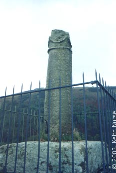 Eliseg's Pillar - view of the shaft face that bore the original 9th century Latin inscription. Keith Nurse, May 2003.